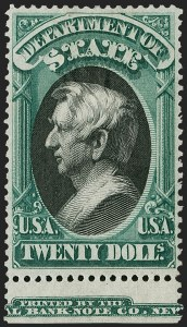 Sale Number 1217, Lot Number 1272, Officials$20.00 State (O71), $20.00 State (O71)