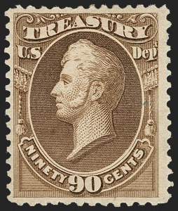 Sale Number 1217, Lot Number 1278, Officials90c Treasury, Soft Paper (O113), 90c Treasury, Soft Paper (O113)