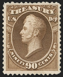 Sale Number 1217, Lot Number 1279, Officials90c Treasury, Soft Paper (O113), 90c Treasury, Soft Paper (O113)