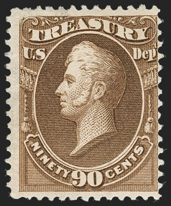 Sale Number 1217, Lot Number 1280, Officials90c Treasury, Soft Paper (O113), 90c Treasury, Soft Paper (O113)