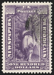 Sale Number 1217, Lot Number 1298, Newspapers and Periodicals$100.00 Purple, 1895 Watermarked Issue (PR125), $100.00 Purple, 1895 Watermarked Issue (PR125)