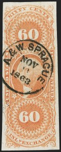 Sale Number 1217, Lot Number 1386, Revenues - First Issue60c Inland Exchange, Imperforate (R64a), 60c Inland Exchange, Imperforate (R64a)