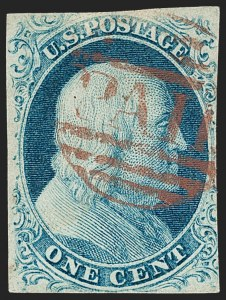 Sale Number 1217, Lot Number 700, 1c 1851-56 Issue (Scott 6-9)1c Blue, Ty. II (7), 1c Blue, Ty. II (7)