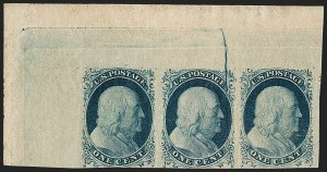 Sale Number 1217, Lot Number 705, 1c 1851-56 Issue (Scott 6-9)1c Blue, Ty. II, Cracked Plate (7 var), 1c Blue, Ty. II, Cracked Plate (7 var)