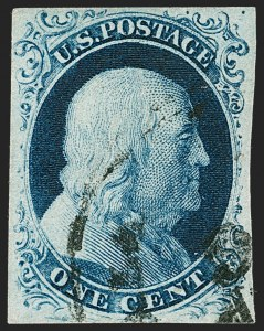 Sale Number 1217, Lot Number 708, 1c 1851-56 Issue (Scott 6-9)1c Blue, Ty. II, Plate 4 (7), 1c Blue, Ty. II, Plate 4 (7)