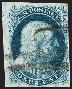 Sale Number 1217, Lot Number 709, 1c 1851-56 Issue (Scott 6-9)1c Blue, Ty. II (7), 1c Blue, Ty. II (7)