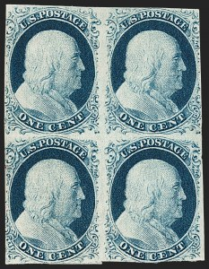 Sale Number 1217, Lot Number 712, 1c 1851-56 Issue (Scott 6-9)1c Blue, Ty. IV (9), 1c Blue, Ty. IV (9)