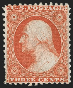 Sale Number 1217, Lot Number 802, 1875 Reprint of 1857-60 Issue (Scott 40-47)3c Scarlet, Reprint (41), 3c Scarlet, Reprint (41)
