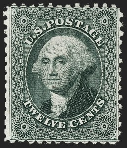 Sale Number 1217, Lot Number 805, 1875 Reprint of 1857-60 Issue (Scott 40-47)12c Greenish Black, Reprint (44), 12c Greenish Black, Reprint (44)