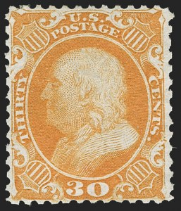 Sale Number 1217, Lot Number 808, 1875 Reprint of 1857-60 Issue (Scott 40-47)30c Yellow Orange, Reprint (46), 30c Yellow Orange, Reprint (46)
