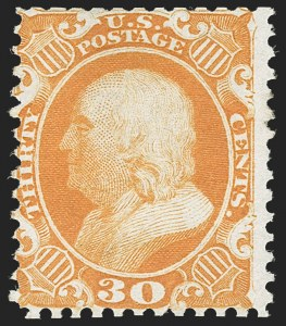 Sale Number 1217, Lot Number 809, 1875 Reprint of 1857-60 Issue (Scott 40-47)30c Yellow Orange, Reprint (46), 30c Yellow Orange, Reprint (46)