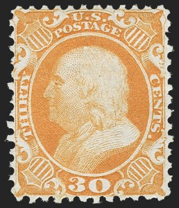 Sale Number 1217, Lot Number 810, 1875 Reprint of 1857-60 Issue (Scott 40-47)30c Yellow Orange, Reprint (46), 30c Yellow Orange, Reprint (46)