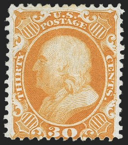 Sale Number 1217, Lot Number 811, 1875 Reprint of 1857-60 Issue (Scott 40-47)30c Yellow Orange, Reprint (46), 30c Yellow Orange, Reprint (46)