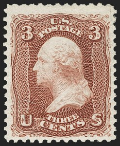 Sale Number 1217, Lot Number 868, 1875 Re-Issue of 1861-66 Issue (Scott 102-111)3c Brown Red, Re-Issue (104), 3c Brown Red, Re-Issue (104)