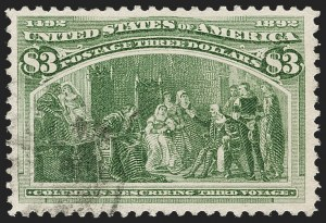 Sale Number 1217, Lot Number 996, 1893 Columbian Issue (Scott 230-245)$3.00 Columbian (243), $3.00 Columbian (243)