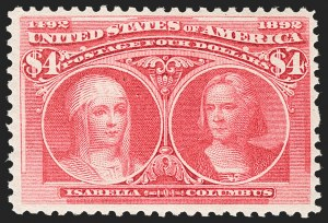 Sale Number 1217, Lot Number 997, 1893 Columbian Issue (Scott 230-245)$4.00 Columbian (244), $4.00 Columbian (244)