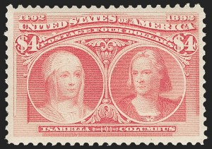 Sale Number 1217, Lot Number 998, 1893 Columbian Issue (Scott 230-245)$4.00 Columbian (244), $4.00 Columbian (244)