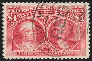 Sale Number 1217, Lot Number 999, 1893 Columbian Issue (Scott 230-245)$4.00 Columbian (244), $4.00 Columbian (244)