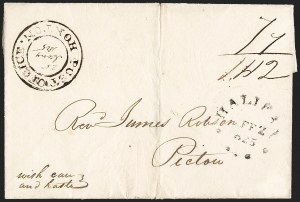 "Sale Number 1218, Lot Number 2235, Nova Scotia ""Post Office"" Double-Circles,"