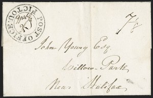 "Sale Number 1218, Lot Number 2240, Nova Scotia ""Post Office"" Double-Circles,"