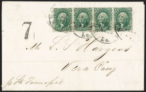 Sale Number 1219, Lot Number 127, 10c-12c 1857-60 Issue (Scott 31-36B)10c Green, Ty. III-IV-III-III (33-34-33-33), 10c Green, Ty. III-IV-III-III (33-34-33-33)