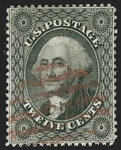 Sale Number 1219, Lot Number 131, 10c-12c 1857-60 Issue (Scott 31-36B)12c Black, Plate 1 (36), 12c Black, Plate 1 (36)