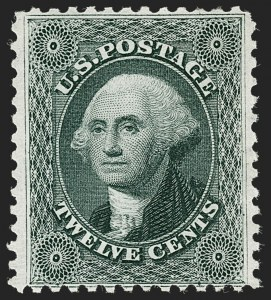 Sale Number 1219, Lot Number 143, 1875 Reprint of 1857-60 Issue (Scott 40-47)12c Greenish Black, Reprint (44), 12c Greenish Black, Reprint (44)
