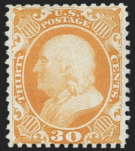 Sale Number 1219, Lot Number 145, 1875 Reprint of 1857-60 Issue (Scott 40-47)30c Yellow Orange, Reprint (46), 30c Yellow Orange, Reprint (46)