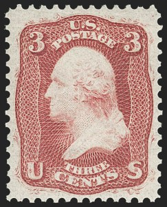 Sale Number 1219, Lot Number 147, 1861-66 Issue (Scott 56-63)3c Brown Rose, First Design (56). Mint N.H, 3c Brown Rose, First Design (56). Mint N.H