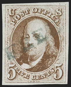 Sale Number 1219, Lot Number 19, 5c 1847 Issue (Scott 1)5c Red Brown (1), 5c Red Brown (1)