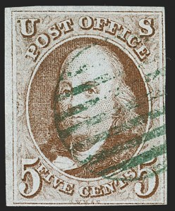 Sale Number 1219, Lot Number 21, 5c 1847 Issue (Scott 1)5c Red Brown (1), 5c Red Brown (1)