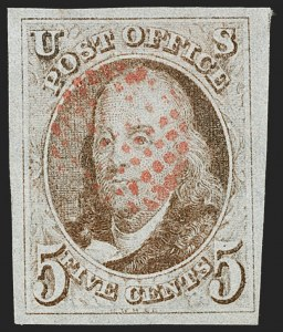 Sale Number 1219, Lot Number 22, 5c 1847 Issue (Scott 1)5c Red Brown (1), 5c Red Brown (1)