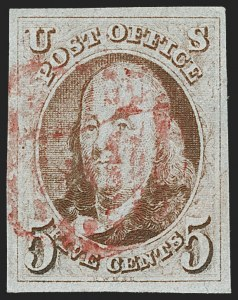 Sale Number 1219, Lot Number 23, 5c 1847 Issue (Scott 1)5c Red Brown (1), 5c Red Brown (1)