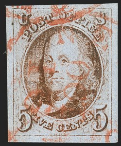 Sale Number 1219, Lot Number 24, 5c 1847 Issue (Scott 1)5c Red Brown (1), 5c Red Brown (1)