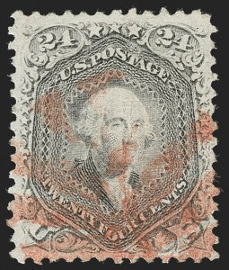 Sale Number 1219, Lot Number 255, 1867-68 Grilled Issue (Scott 79-101)24c Gray Lilac, F. Grill (99), 24c Gray Lilac, F. Grill (99)
