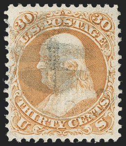 Sale Number 1219, Lot Number 256, 1867-68 Grilled Issue (Scott 79-101)30c Orange, F. Grill (100), 30c Orange, F. Grill (100)