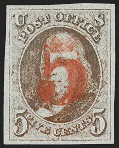 Sale Number 1219, Lot Number 26, 5c 1847 Issue (Scott 1)5c Red Brown (1), 5c Red Brown (1)