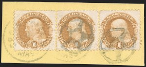 Sale Number 1219, Lot Number 276, 1c-3c 1869 Pictorial Issue (Scott 112-114)1c Buff (112), 1c Buff (112)