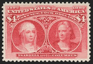 Sale Number 1219, Lot Number 439, 1893 Columbian Issue (Scott 230-245)$4.00 Columbian (244), $4.00 Columbian (244)