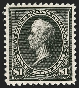 Sale Number 1219, Lot Number 456, 1894 Unwatermarked Bureau Issue (Scott 246-263)$1.00 Black, Ty. II (261A), $1.00 Black, Ty. II (261A)