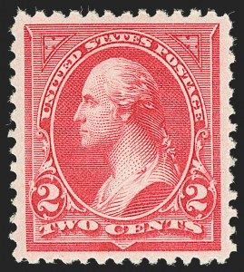 Sale Number 1219, Lot Number 460, 1895 Watermarked Bureau Issue (Scott 264-278)2c Carmine, Ty. II (266), 2c Carmine, Ty. II (266)