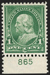 Sale Number 1219, Lot Number 472, 1897-1903 Change of Colors (Scott 279-284)1c Deep Green (279), 1c Deep Green (279)