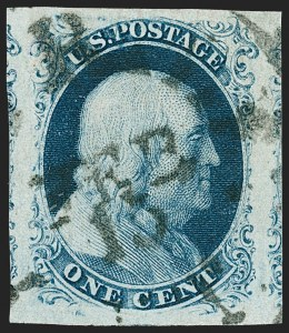 Sale Number 1219, Lot Number 55, 1c 1851 Issue (Scott 5-9)1c Blue, Ty. III (8), 1c Blue, Ty. III (8)