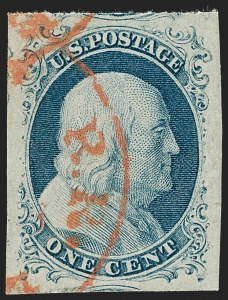 Sale Number 1219, Lot Number 57, 1c 1851 Issue (Scott 5-9)1c Blue, Ty. IV (9), 1c Blue, Ty. IV (9)