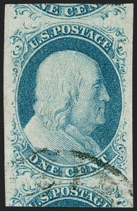 Sale Number 1219, Lot Number 59, 1c 1851 Issue (Scott 5-9)1c Blue, Ty. IV (9), 1c Blue, Ty. IV (9)