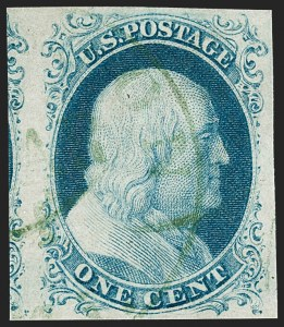Sale Number 1219, Lot Number 60, 1c 1851 Issue (Scott 5-9)1c Blue, Ty. IV (9), 1c Blue, Ty. IV (9)