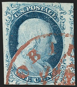 Sale Number 1219, Lot Number 62, 1c 1851 Issue (Scott 5-9)1c Blue, Ty. IV (9), 1c Blue, Ty. IV (9)