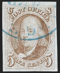 Sale Number 1219, Lot Number 8, 5c 1847 Issue (Scott 1)5c Red Brown (1), 5c Red Brown (1)