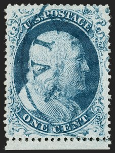 Sale Number 1219, Lot Number 91, 1c 1857-60 Issue (Scott 18-24)1c Blue, Ty. IIIa (22), 1c Blue, Ty. IIIa (22)