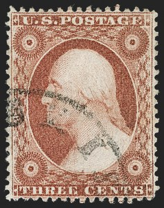 Sale Number 1219, Lot Number 95, 3c 1857-60 Issue (Scott 25-26A)3c Brownish Carmine, Ty. I (25), 3c Brownish Carmine, Ty. I (25)